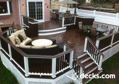 37 awesome backyard ideas for patios, porches, and decks 7 - All For Garden Outdoor Spaces, Outdoor Living, Tiered Deck, Pavillion, Deck Colors, Deck Builders, Diy Deck, Building A Deck, Building Homes