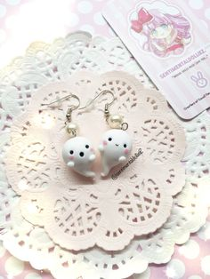 Kawaii Halloween Earrings, Halloween Jewelry, Spooky Ghost Earrings, Kawaii Polymer Clay Charms, Cute Ghost Earrings, White Accessories by SentimentalDollieZ on Etsy https://www.etsy.com/listing/162297752/kawaii-halloween-earrings-halloween