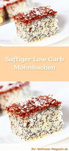 Rezept für einen Low Carb Mohnkuchen - kohlenhydratarm, kalorienreduziert, ohne Zucker und Getreidemehl