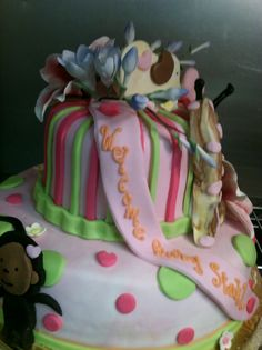 Pink Jungle Baby Shower Cake