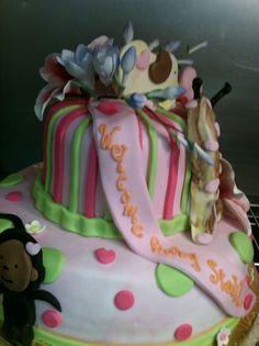 Pink Jungle Baby Shower Cake
