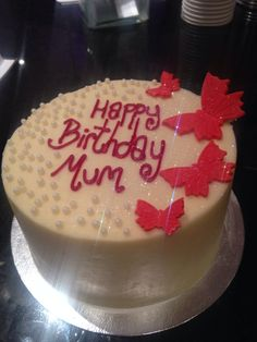 Butterflies And Pearls Birthday Cake For Mum