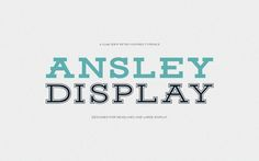 108 Best Free Logo Fonts for Your 2016 Brand Design Projects - Ansley Display is a free retro-style, slab serif typeface, design in all caps. The font is great for headlines, large display, adding a sporty and casual vibe to your design. Retro Typography, Retro Font, Retro Logos, Hipster Fonts, 100 Free Fonts, Font Free, Slab Serif Fonts, Serif Typeface, Free Fonts For Designers