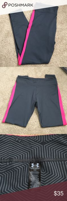 Under Armour Leggings NWOT UA cold gear infrared leggings. Hot pink strip down the side. Under Armour Pants Leggings