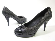 AUTH CHANEL Black Spectator Escarpins Pumps Heels Sz 37.5 7.5  at www.ShopLindasStuff.com