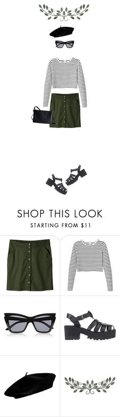 """""""No drama"""" by lelindaphan ❤ liked on Polyvore featuring Patagonia, Monki, Le Specs, Windsor Smith, CÉLINE, simple, skirt and stripes"""