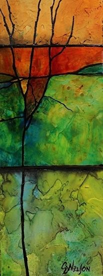 Make a Wish, 11038 by Carol Nelson mixed media ~ 10 x 4