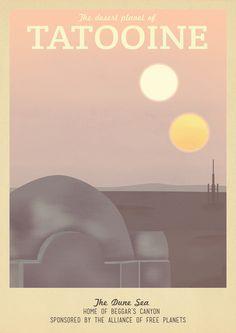 Retro Travel Poster Series - Star Wars - Tatooine Art Print