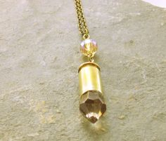 Pale Peach Crystal Bullet Necklace bullet pendant by GlobalBrights