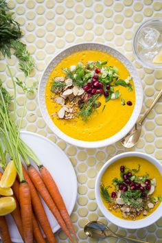 Get veggies. Make soup. This Lemongrass-Ginger Turmeric Carrot Soup is so easy. Just toss everything into the blender and...boom. Happy, healthy soup.