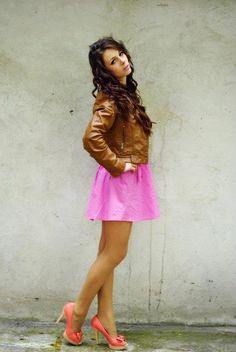 Leather & pink.