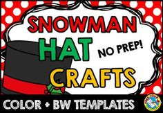 Kids will love making and wearing this snowman hat for Christmas! This resource contains a cute hat template, both in color and bw. Children can look at the colored template to color their own hat.