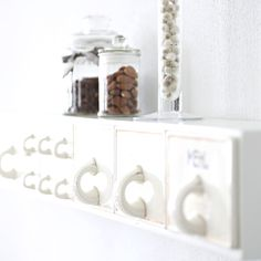 DIY shelf made of vintage porcelain drawers - up on the wall in Floating Shelves, Blueberry, Drawers, Shelf, Porcelain, Wall, Kitchen, Diy, Vintage
