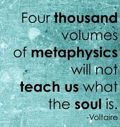 Four thousand volumes of metaphysics will not teach us what the soul is. (Voltaire)