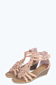 Sarah Floral Trim Demi Wedge Sandals alternative image