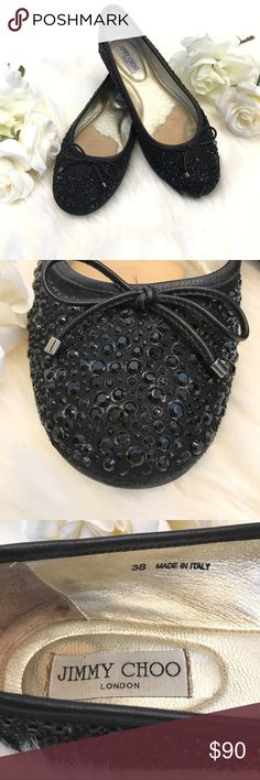 JIMMY CHOO Rhinestone Ballet Flats Great used condition. Jimmy Choo Ballet Flats, Sz 38. Covered in black rhinestones, missing only a few, not noticeable. Wear on inside at ball of foot, otherwise great condition. Jimmy Choo Shoes Flats & Loafers