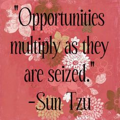 Opportunities multiply as they are seized.  Sun Tzu #quote