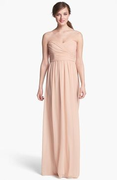 Traditional Monique Lhuillier Bridesmaids Strapless Ruched Chiffon Sweetheart Gown available at #Nordstrom