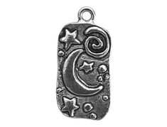 2 Moon and Stars 1 inch  25 mm  Pewter Charms