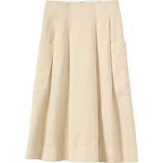 HEMP SKIRT ❤ liked on Polyvore featuring skirts, brown skirt, hemp skirt, textured skirt, pleated skirt and brown pleated skirt