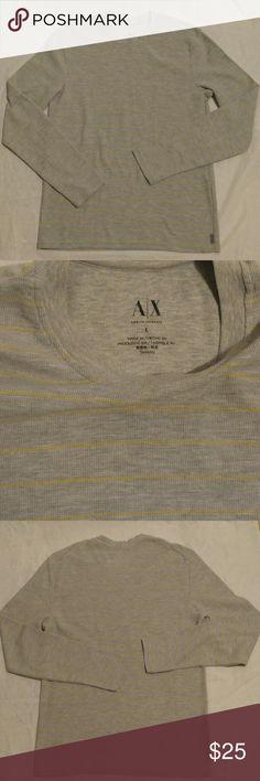Armani Exchange AX long sleeve Armani Exchange AX  long sleeve  Grey with yellow stripes Large Armani Exchange Shirts Tees - Long Sleeve
