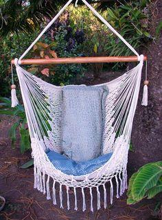 Chair hammocks with macrame decor /hammocks chair / Beige hanging decor/Indoor outdoor chair hammock/ Handwoven chair swing/ Furniture beige