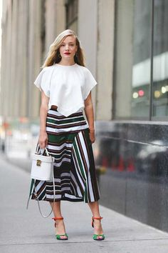 ELLE Street Style: NYFW S/S 2016 | Kate Foley wears an #Elery top, #Suno skirt, Pierre Hardy #shoes and a Mark Frost bag.