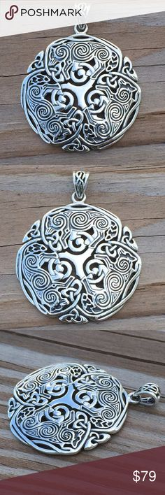 """WOLF Triskele Pendant .925 Sterling Silver Wolves Large Celtic Norse Viking 3 Wolf Triskele Triskelion Pendant. Handcrafted in solid .925 Sterling Silver. Gorgeous details! Celtic spirals adorns the 3 Wolves as they circle around the central Triskele. Designed by artist Brigid Ashwood.  This pendant is 1 7/8"""" h with the bail. Wolves are very intuitive, intelligent, and passionate. They understand the importance of social connections and are very aware of their surroundings. Peter Stone…"""