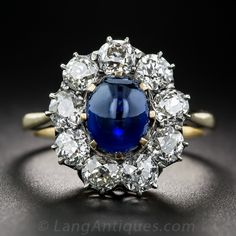 2.35 Carat Cabochon Sapphire and Diamond Antique Ring - 30-1-7080 - Lang Antiques