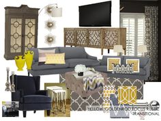 Gray, white, living room, family room, yellow accent color, navy.