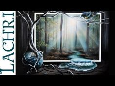 Time lapse speed painting Surreal misty Forest, river and earth Acrylic and airbrushing by Lachri - YouTube