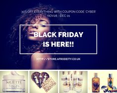 Our Cyber Weekend Sale begins today. 30% off with Coupon Code 'CYBER'. You will find our incredibly popular hampers, the fountain luxury oils collection, the entire joliette collection, jamaican black castor oil products and much more discounted this weekend only. Starting today Black Friday! http://store.afrodeity.co.uk #knowyourworth  #teamnaturaluk #teamnatural_ #mixedracehair #caribbeaninspired  #naturalhairuk #teamnatural #giftset #supportbritishbusiness #supportblackbusiness