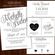 Printable Wedding Invitation - Classic Calligraphy Suite for $20.00 #onselz