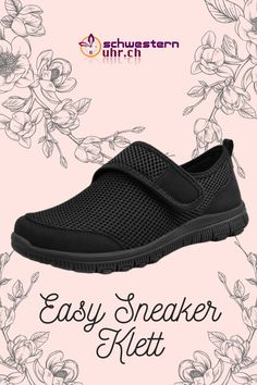 EasySneaker All Black Klett Super, All Black, Easy, Slip On, Sneakers, Fashion, Comfortable Work Shoes, Comfortable Shoes, Beautiful Shoes