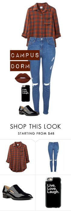 """CAMPUS DORM"" by mfcastillo98 ❤ liked on Polyvore featuring RVCA, Topshop, Nine West, Casetify and Lime Crime"
