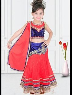 Trendy Peach And Blue Net Designer Kids Wear Lehenga Choli