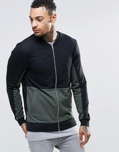 ASOS+Muscle+Jersey+Bomber+Jacket+With+Cut+&+Sew