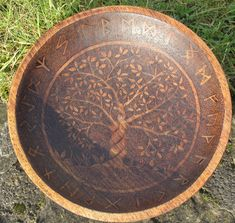 Wooden Bowl with Pyrographed Tree of Life and Rune Design