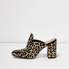 River Island Leopard print closed toe block heel mules ($59) ❤ liked on Polyvore featuring shoes, print, sandals, shoes / boots, women, mule shoes, black block heel shoes, high heel mules, high heeled footwear and black closed toe shoes