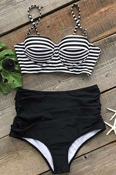 Cupshe All About U Stripe High-waisted Bikini Set. I NEED THIS #summer #stripes #bikini