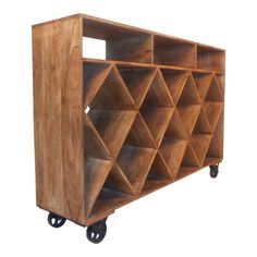 A large rustic style rolling wood wine rack with a wonderful industrial look. The versatile design functions as a book shelf, display shelf, or a w. Repurposed Wood Projects, Wood Wine Racks, Flat Shapes, Expensive Wine, Wine Fridge, Craft Stick Crafts, Diy Crafts, Rustic Industrial, Display Shelves
