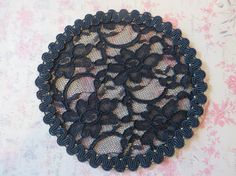 Handmade Black Lace Doily Head Cover with Subtle by ElegantDoily