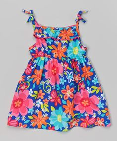 Look what I found on #zulily! Turquoise & Fuchsia Floral Ruffle Dress - Infant & Toddler by Youngland #zulilyfinds