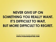 Never give up on something you really want. It's difficult to wait, but more difficult to regret.