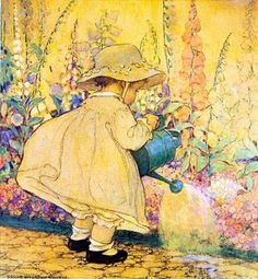 "Illustration by Jessie Willcox Smith- ""Watering the Foxglove"" Canvas Art Prints, Childrens Illustrations, American Illustration, Vintage Art, Illustration Art, Art, Childrens Art, Canvas Art, Vintage Illustration"