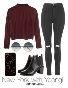 """""""New York with Yoongi"""" by btsoutfits ❤ liked on Polyvore featuring Topshop, Monki, Zero Gravity and Victoria Beckham"""