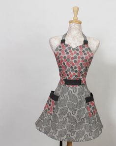 Full Apron Red Black and Gray by apronqueen on Etsy, $29.95