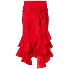 Intermix Women's Erik Poplin Skirt ($265) ❤ liked on Polyvore featuring skirts, red, poplin skirt, shirred skirts, gathered skirt, ruched skirt and zipper skirt