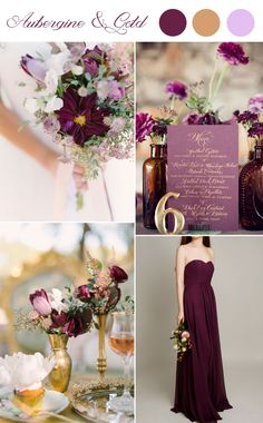 dark purple aubergine and gold wedding color inspired weddings and bridesmaid dress 2015