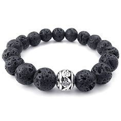 "KONOV Mens Energy Bracelet, 12mm Lava Rock and Silver Bead Bangle, Black Silver. Including one velvet bag printed brand name ""KONOV"" on it. Color: Black Silver. Width: 13mm(0.5"") Length: 8""(20.3cm). Material: No-Metal-Type."
